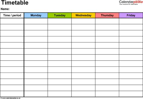 timetable school template timetables as free printable templates for microsoft word
