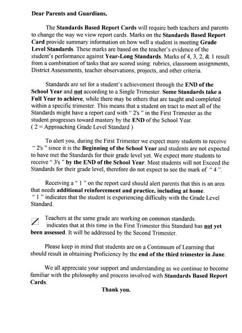 Excuse Letter For Getting A Report Card Standards Based Report Note To Parents