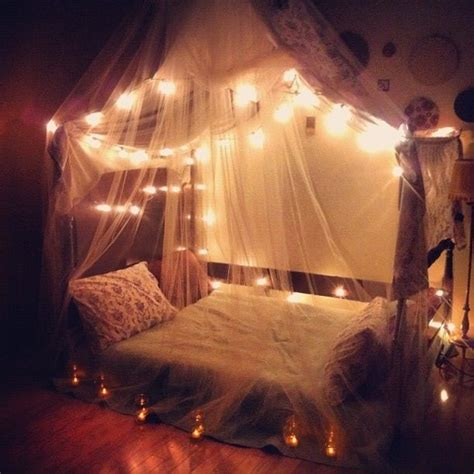 bedroom with canopies lights i want something like