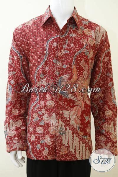 Hem Baju Lengan Panjang Cowo Cowok Batik Merah Maroon Murah Distro hem batik merah berbahan halus alam baju batik lengan panjang motif keren dilengkapi
