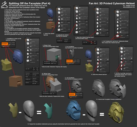 zbrush subtool tutorial fan art 3d printed doctor who cyberman helmet
