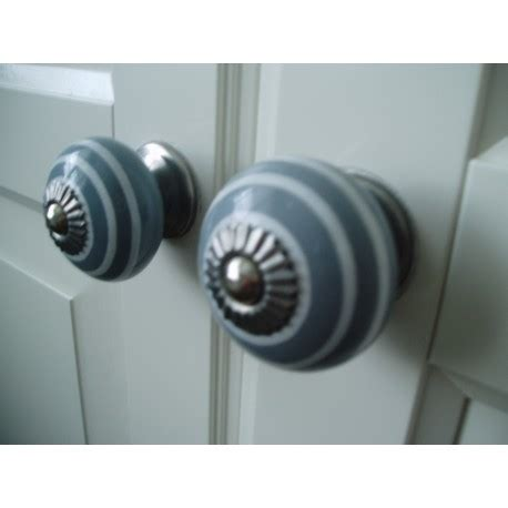 Gray Dresser Knobs by Stripey Drawer Knob Shabby Chic Door Knobs In Grey With