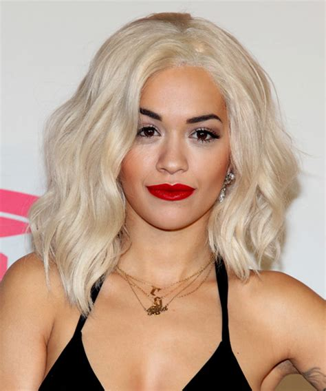 Rita Ora Medium Wavy Casual Hairstyle   Light Blonde