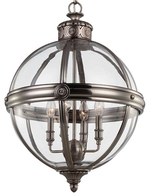 Antique Lantern Chandelier Feiss 4 Light Globe Pendant Chandelier Lantern Antique Nickel