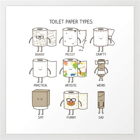 Toilet Paper Artists by Toilet Paper Types Art Print By Milkyprint Society6