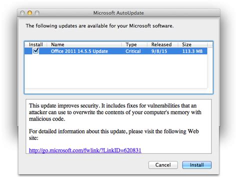 Office Update Mac Microsoft Issues Office For Mac 2011 14 5 5 With Security