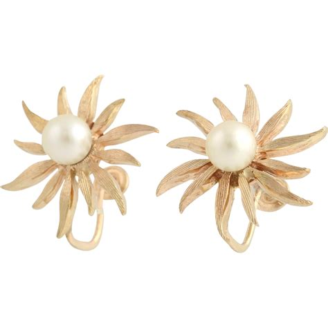 Of Pearl Yellow Earrings pearl flower earrings 14k yellow gold cultured