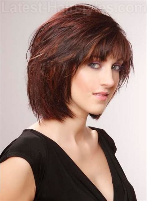 short hairstyles chin length bobs chin length layered bob with fringe over 50 short