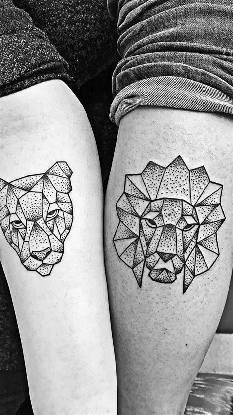 lion couple tattoos geometric and lioness as i chose the