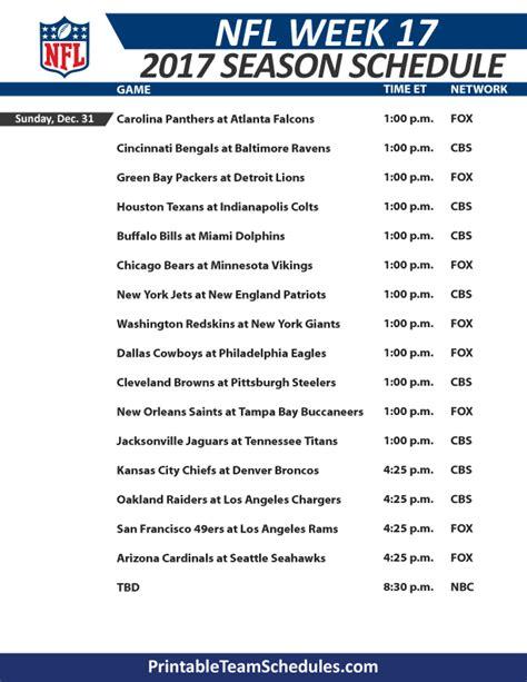 Nfl Week 17 Printable Schedule