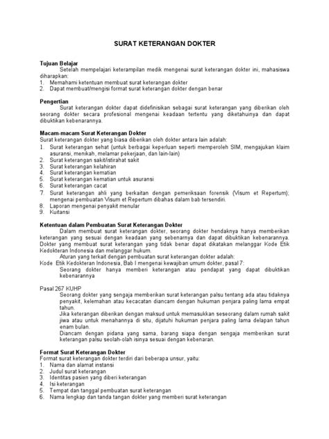 format surat pernyataan sakit macam2 surat keterangan dokter