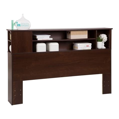 south shore vito wood full queen bookcase headboard in