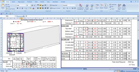 Download a bar bending schedule of Box Culvert