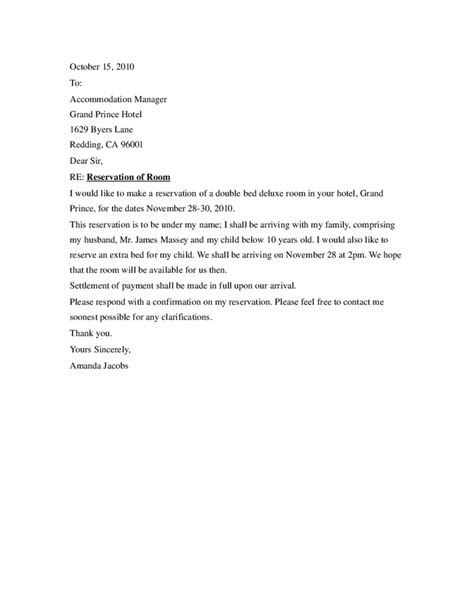 Exle Of Inquiry Letter For Hotel Reservation
