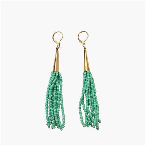Mint Seed Bead Tassel Earrings Dear Keaton