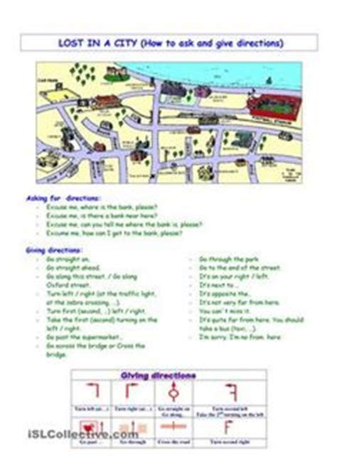 free printable giving directions worksheets esl directions city road signs means of transport on