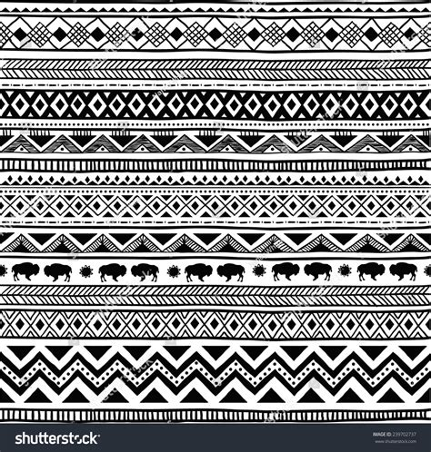 aztec pattern black and white aztec tribal seamless black white hand stock vector