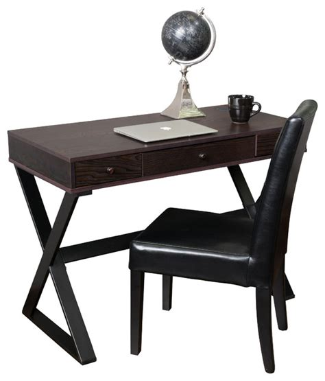 wood writing desks with drawers gdfstudio geena 3 drawer dark brown wood writing desk