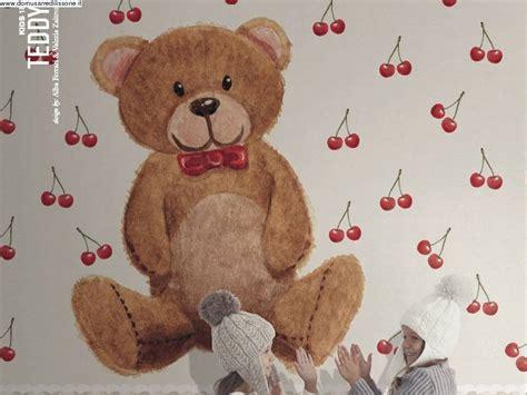 tappezzeria bambini carta da parati orso peluche