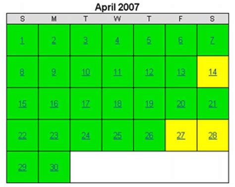 April 2007 Calendar Spare The Air Historical Air Quality Calendar