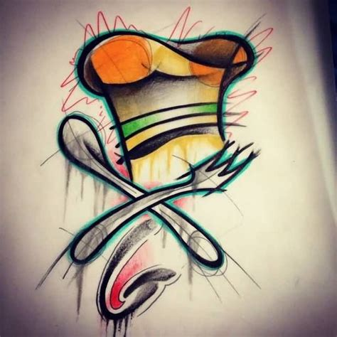 chef hat tattoo 2017 trend watercolor beautiful chef hat with