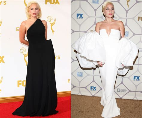 Dress Gaga gaga s 2 gorgeous emmys gowns did the black or white