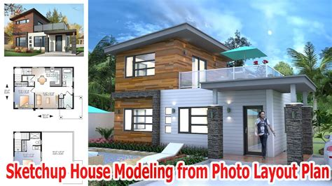 sketchup house plan sketchup house modeling from photo layout plan youtube