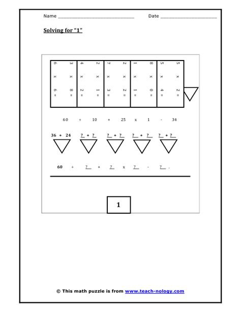 Algebra Puzzle Worksheets by Solving For 1