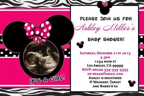 minnie mouse baby shower invitation its a girl baby
