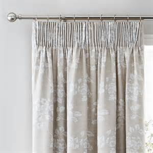 Natural Floral Curtains Headingham Lined 6 Quot Pencil Pleat Curtains Natural