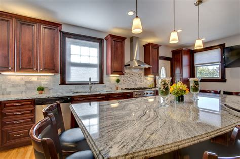granite with cherry cabinets in kitchens viscont white granite countertops with cherry cabinets