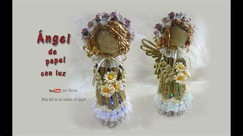 angelitos con periodoco 193 ngel de papel con luz paper angel with light navidad