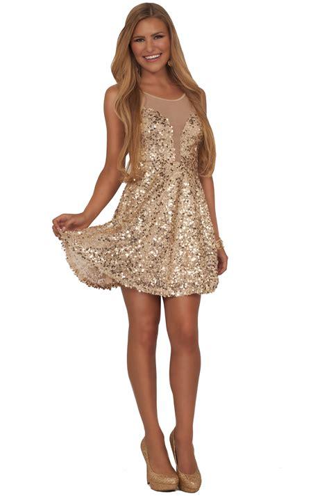 Gold Dresses Make Holidays Nicer by Juniors V Neck Mesh Insert Lovely Gold Sequins Fit N