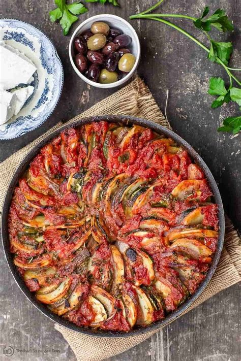 briam greek roasted vegetables served   side  feta