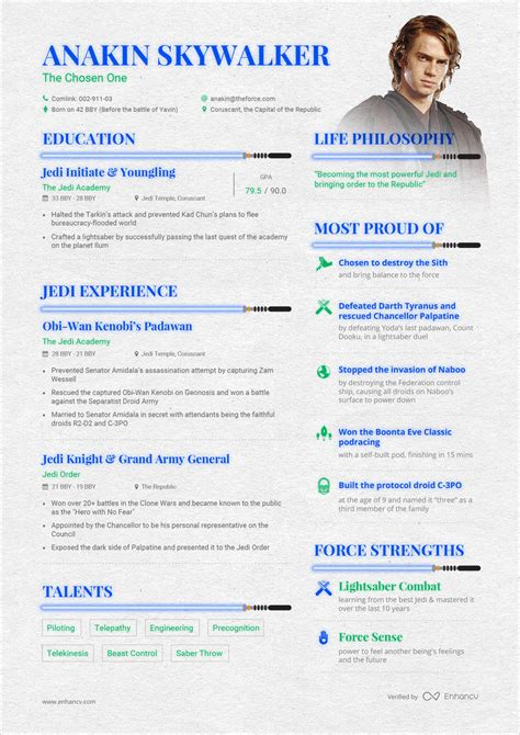 opposite of resume resume wars anakin skywalker vs darth