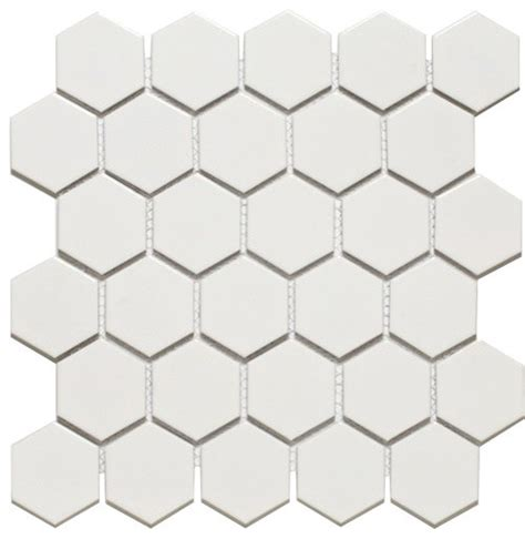 hexagon mosaics white ceramic 2 inch glazed