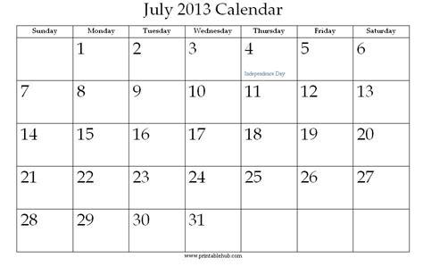 Calendar July 2013 July 2013 Printable Calendar 171 Printable Hub