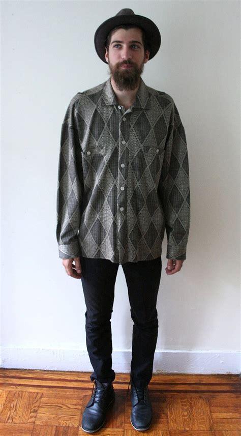 vintage 80s boho oversized geometric print shirt