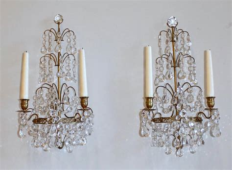Candle Sconces With Crystals pair of swedish gustavian style and bronze candle wall sconces at 1stdibs