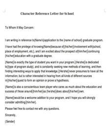 Character Reference Letter Template For School Sle Reference Letter For Schools 7 Exles In Pdf Word