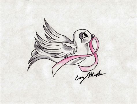 dove with ribbon tattoo designs breast cancer dove design by narcissustattoos on