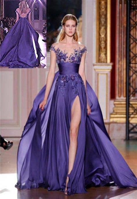 long purple applique formal party evening prom