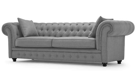 Branagh 3 Seater Grey Chesterfield Sofa Made Com Grey Chesterfield Sofa