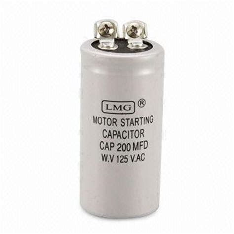 run capacitor gets motor start capacitor with 20 to 1 600uf capacitance aluminum pins and