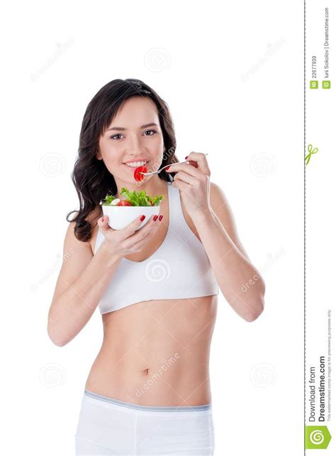 get fresh girls young girl eating fresh salad royalty free stock images