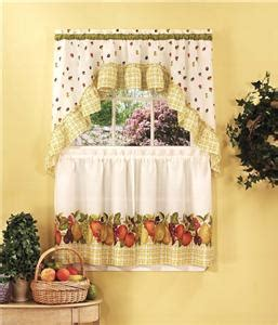 3 pc fruit kitchen curtains tier swag set strawberry