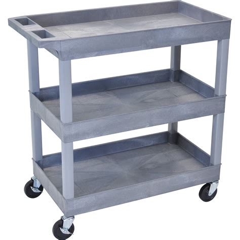 Three Shelf Cart by Luxor 32 X 18 Quot Three Shelf Utility Cart Gray Ec111 G B H