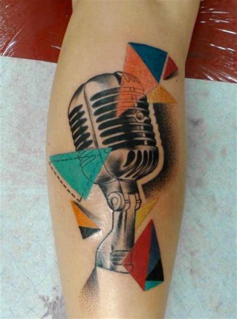 tribal microphone tattoo arm microphone by mariusz trubisz