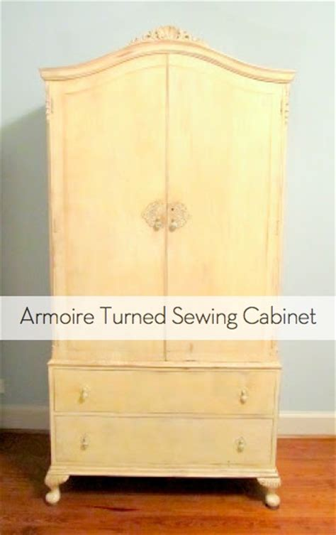 sewing cabinet armoire how to transform an armoire into a sewing cabinet curbly