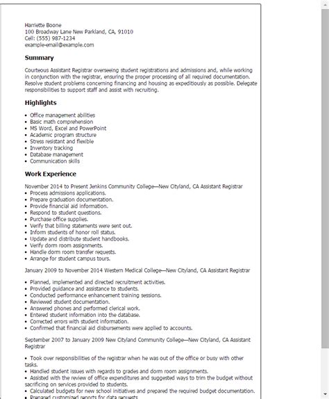 assistant registrar cover letter professional assistant registrar templates to showcase